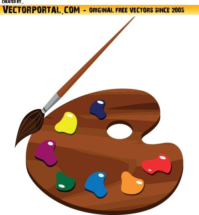 絵の具のパレットと筆無料ベクタークリップアート素材 All Free