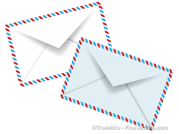 Pair-of-Vintage-Envelopes ブルーとホワイトがきれいなペアのエアメール。無料ベクタークリップアート素材