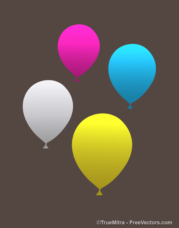 Party-Balloons マットな質感の4色の風船。無料ベクタークリップアート素材