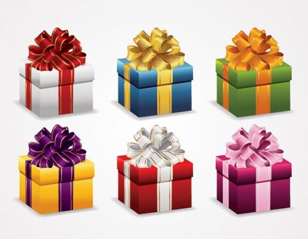 Present-Gift-Box-With-Ribbon-Vector-600x466 無料ベクタークリップアート。カラフルなプレゼントボックスのイラスト素材6個。