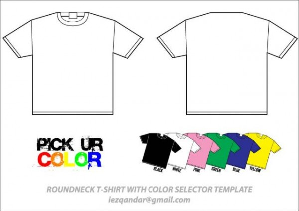 ROUNDNECK-T-SHIRT-WITH-COLOR-SELECTOR-TEMPLATE-600x423 シンプルでカラフルなTシャツの無料ベクターモックアップ素材