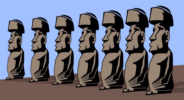 Rapa-Nui-Free-Vector モアイ像をシンプルに描いた無料ベクタークリップアート素材