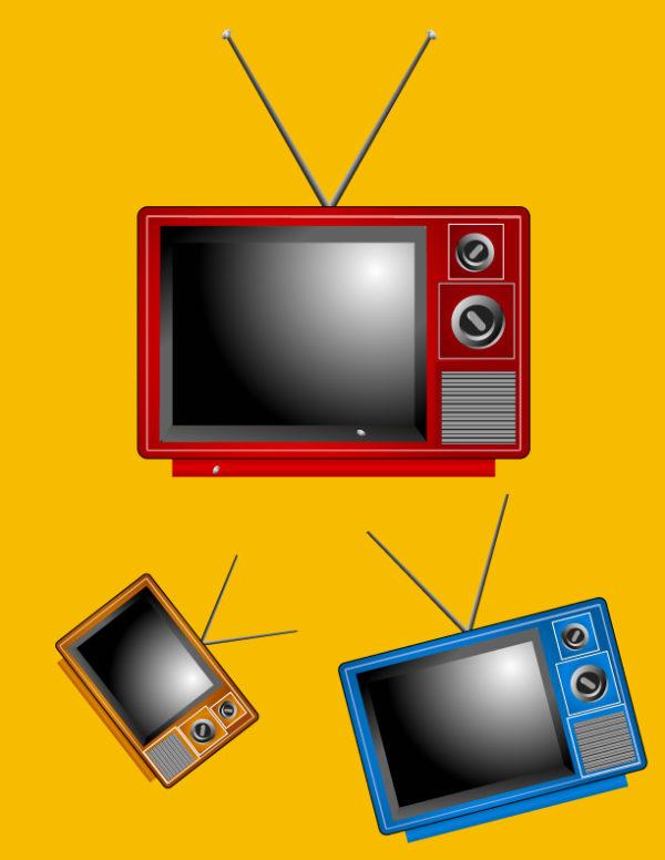 Retro-Vector-TV-600x776 レトロな3色のブラウン管テレビ。無料ベクタークリップアート素材