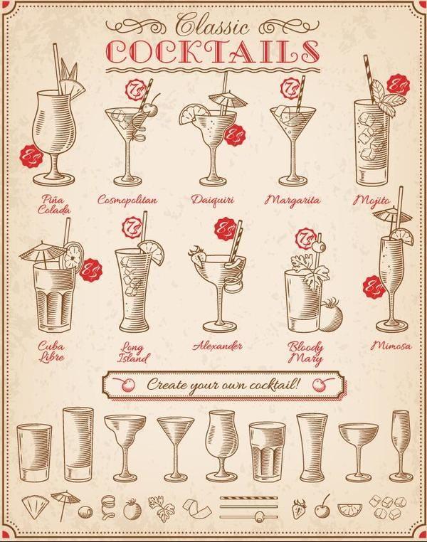 Retro-cocktails-menu-hand-drawn-vector-600x762 レトロ感が魅力のカクテルのクリップアート素材