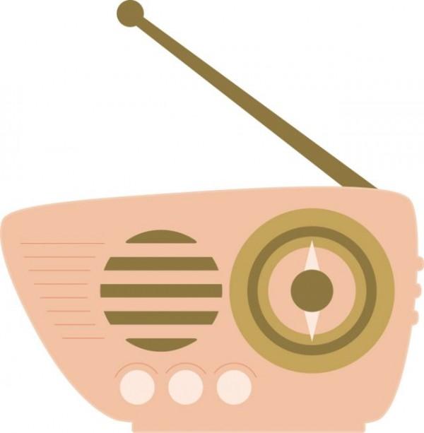 Retro_Radio-600x613 フラットに描かれたレトロラジオの無料ベクタークリップアート素材