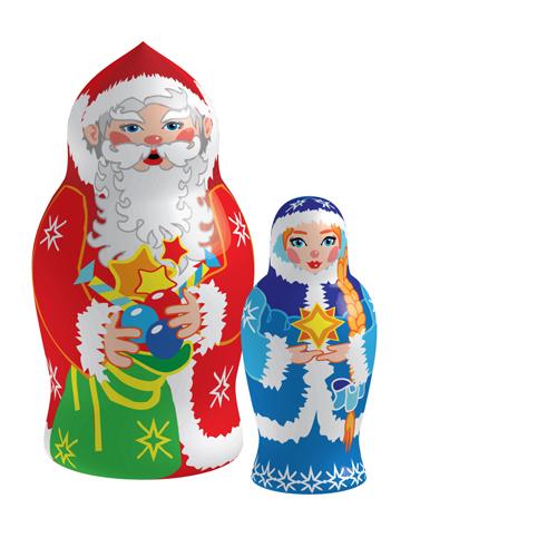 Russian-Christmas-4 クリスマスバージョンのマトリョーシカ人形02 無料ベクターイラスト素材
