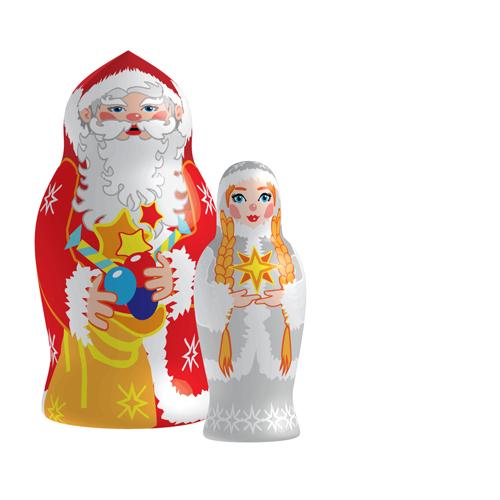 Russian-Christmas-5 クリスマスバージョンのマトリョーシカ人形01 無料ベクターイラスト素材