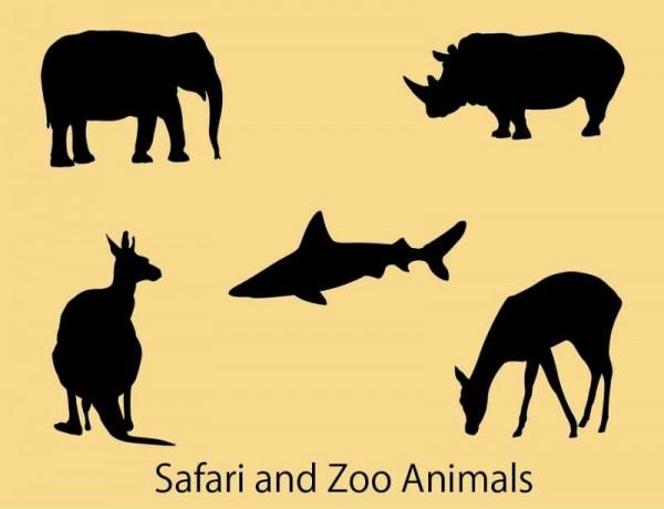 Safari-and-Zoo-Animals-thumb-600x460 サファリや海などに生息する野生動物の無料ベクターシルエット素材