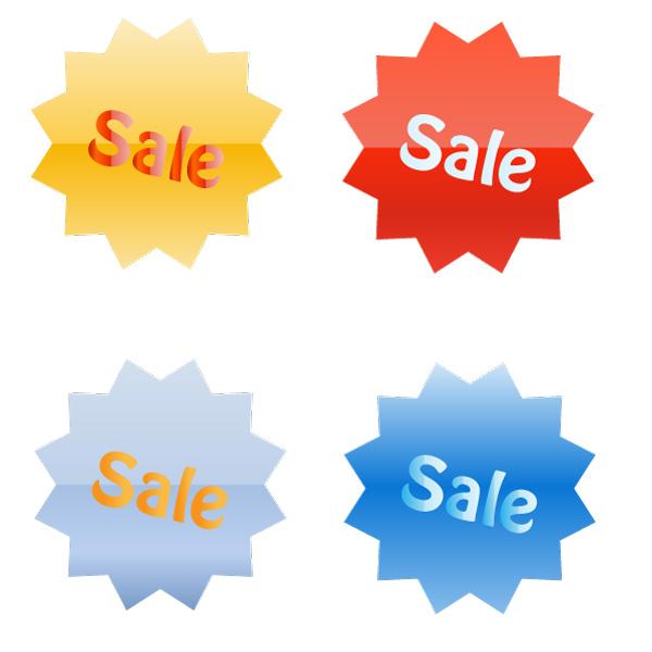 Sale-Tags 無料ベクターイラスト素材。セール用タグ4色
