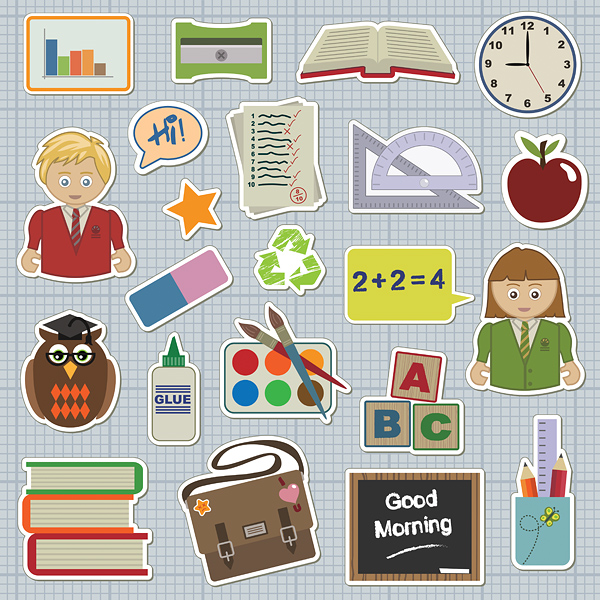 School-icons 2Dタイプ・スクール用クリップアート・イラスト素材