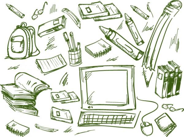 Schoolhand-draw-2-600x447 手書きスケッチ風!学校やオフィスに関連のあるクリップアート素材。