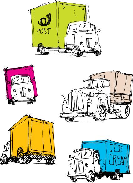 Service-delivery-vector-1 配送トラック5種類。手書きスケッチの無料ベクターイラスト素材