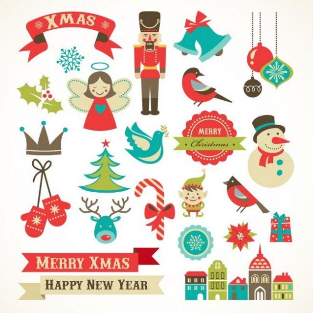レトロなクリスマス用イラスト素材集無料ベクタークリップアート