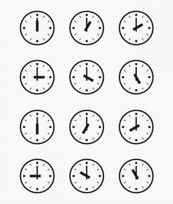 Set-of-Wall-Clocks-With-Another-Times-600x710 時刻の必要な時に使いたいアナログ時計の無料ベクタークリップアート素材