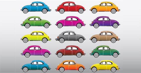 Set-of-free-vector-cars 15色のワーゲン・ビートル(旧タイプ)。無料ベクタークリップアート素材
