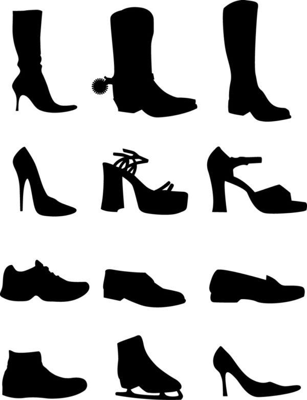 Shoe-Vectors-Silhouettes-600x782 女性用の靴(ブーツ・サンダル・ハイヒール・スニーカー・スケート)無料ベクターシルエット素材