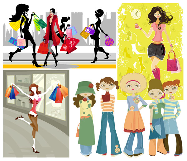 Shopping-girl-vector2 ショッピングを楽しむ女性を描いたおしゃれ系イラスト素材いろいろ