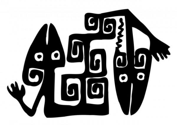 Snake-free-Vector-clip-art-600x424 古代壁画のよう!抽象的な蛇のイラスト。ベクターシルエット素材