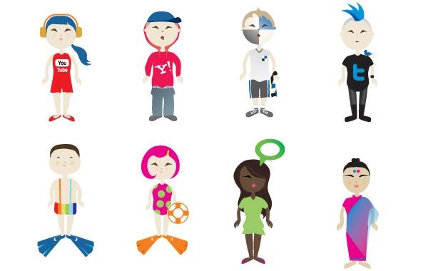 Social-Vector-Kids ソーシャルネットワークをモチーフにした子供のイラスト素材