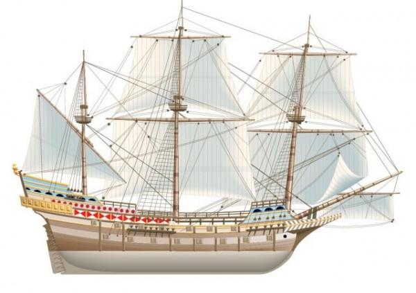Spanish-galeon-600x423 帆船の無料ベクターイラスト素材