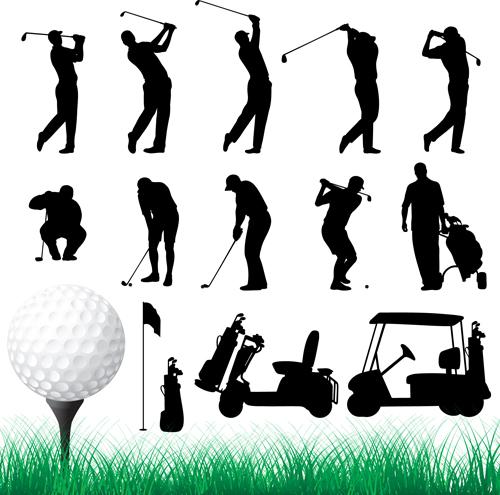 Sport-siluetes-1 スイングやカートなどゴルフに関連のある無料ベクターシルエット素材