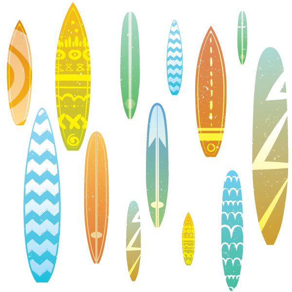 Surfboard-Seamless-Pattern-Vector-Graphic-01 ヴィンテージ風サーフボードのイラスト素材13種類