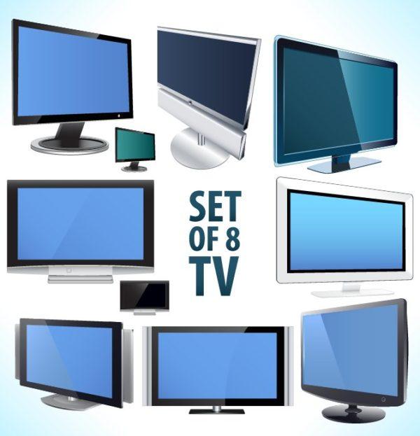 TV-Vector-600x623 液晶テレビやプラズマテレビなどの薄型テレビの無料ベクターイラスト素材
