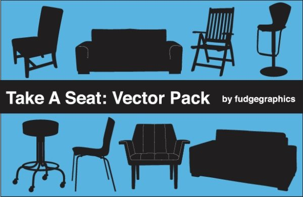 Take-A-Seat-Vector-Pack-600x391 フリーのシルエット素材。ソファやチェアーのベクタークリップアート