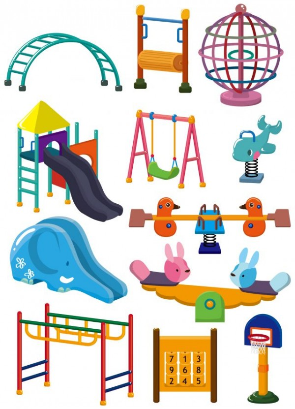 The-cartoon-entertainment-equipment-vector-materia-600x831 滑り台やブランコなど子供の遊具の無料ベクタークリップアート集