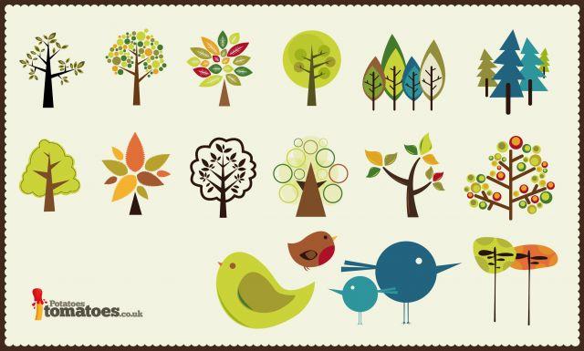 小鳥と木のかわいいイラスト素材ai All Free Clipart