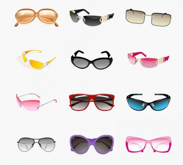 Trendy-Sunglasses-Vector-Set-600x542 12種類のカラフルサングラス。無料ベクタークリップアート素材
