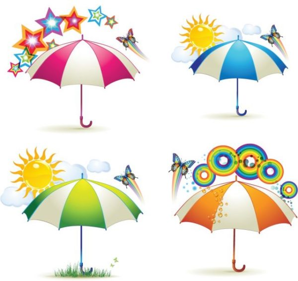Various-Colorful-Umbrellas02-600x566 カラフルなパラソルの無料ベクタークリップアート素材
