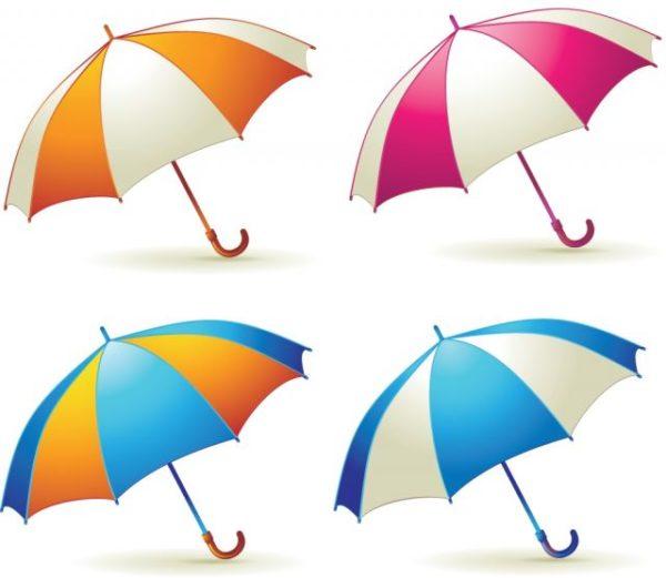 Various-Colorful-Umbrellas03-600x521 カラフルなパラソルの無料ベクタークリップアート素材