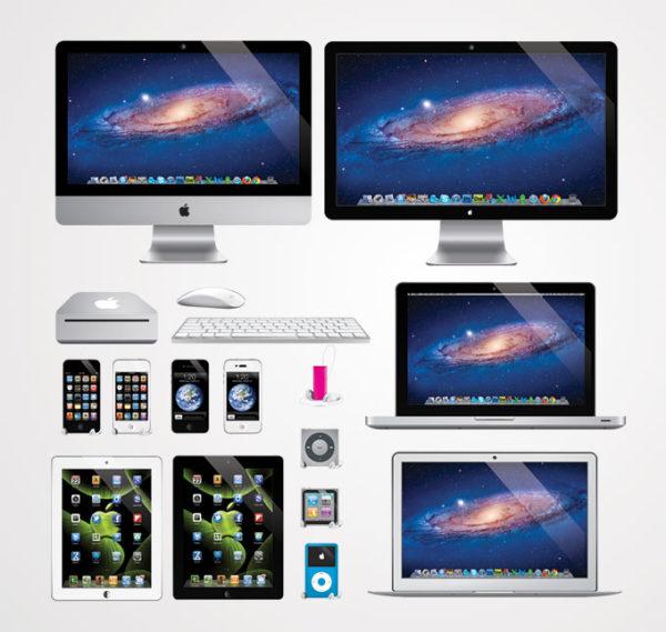 Vector-Apple-Products-600x569 フリーベクターイラスト。Apple製品のクリップアート素材(iMac, iPhone, iPad, iPod, Macbook, ディスプレイ)