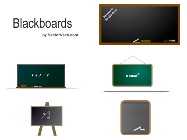 Vector-Blackboard-–-10136-600x450 学校関連クリップアート素材。木枠の黒板が5種類