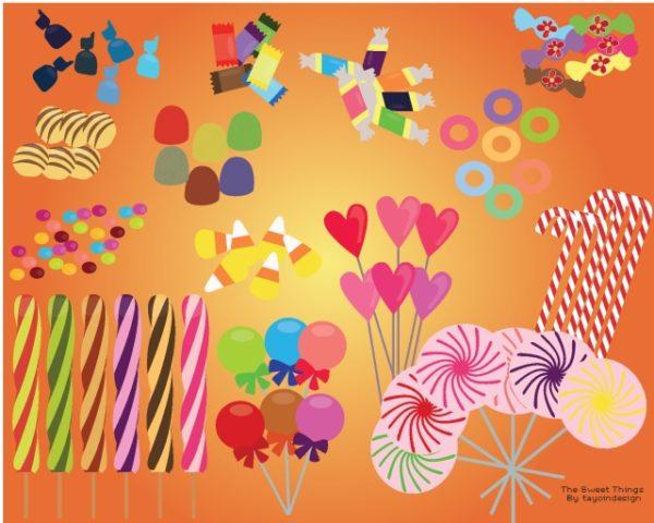 Vector-Candies-and-Sweets-600x480 いろんなタイプの無料キャンディー(飴ちゃん)イラスト素材