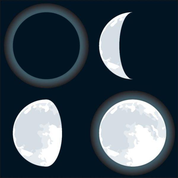 Vector-Eid-Moon-four-phases-600x600 新月・満月・三日月・更待月の無料ベクターイラスト素材