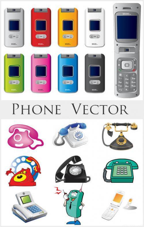 Vector-Phones-Clipart カラフルガラケーと固定電話の無料ベクタークリップアート素材
