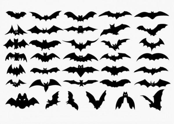 Vector-Set-of-Halloween-Bat-Silhouette-600x427 ハロウィンにも使える!コウモリの無料ベクターシルエット素材