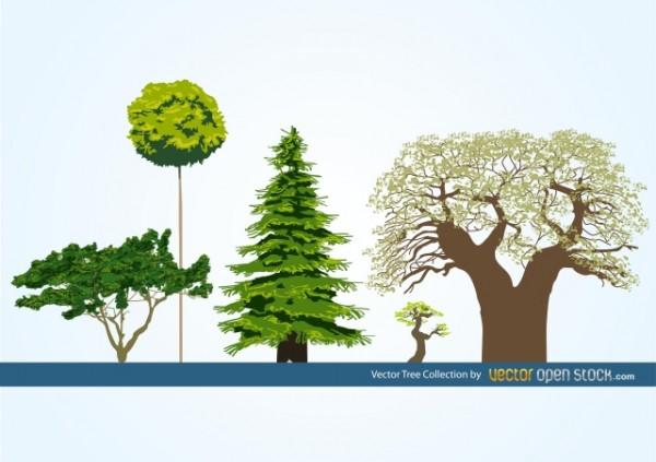 Vector-Tree-Collection-600x423 樹齢何千年の大木など5つのツリーを描いた無料のクリップアート素材