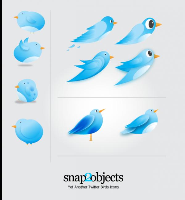 Vector-Twitter-Birds-Icons-600x648 かわいい!ツイッター風のベクター小鳥アイコン10種類