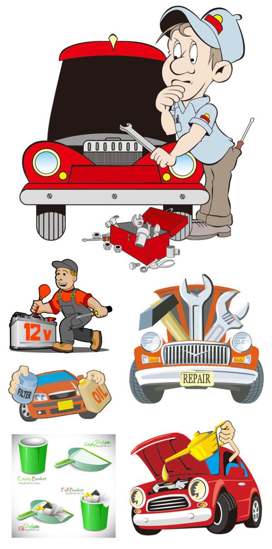 Vector-cartoon-illustration-repair 自動車整備・修理に関連のある無料ベクターイラスト素材。(メカニック・整備士)