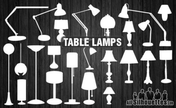 Vector-table-lamps-600x370 25個スタンドランプ(照明)の無料ベクターシルエット素材