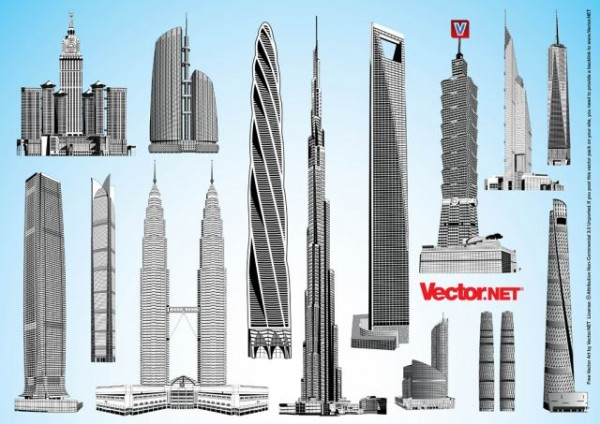 Vector.NET-Free-Vector-Art-Pack-32-Tallest-Skyscrapers-600x424 世界の超高層ビルの無料ベクターイラスト素材