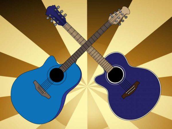 VectorFree-Acoustic-Guitars-600x450 アコースティックギターのベクタークリップアート素材