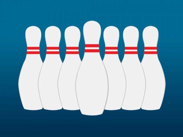 VectorFree-Bowling-Pins-600x450 正面から見たボーリングのピン。無料ベクターイラスト素材