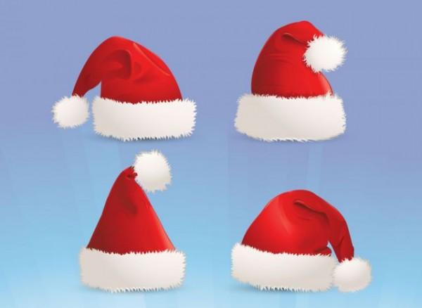 VectorFree-Christmas-Hat-Set-600x438 サンタクロースの帽子x4。無料ベクターイラスト素材