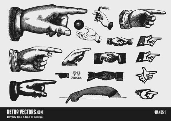 Vintage Hands - Free Vector Art