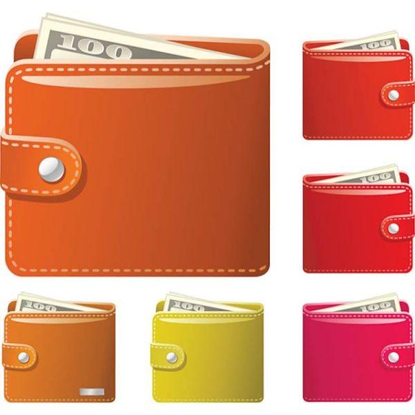 Wallet-vector-600x600 お札がチラッと見える、二つ折り財布の無料ベクタークリップアート素材