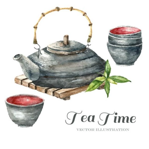 Water-painted-teapot-and-tea-cup-600x600 水彩っぽく描かれた土瓶と湯呑のベクター無料クリップアート素材